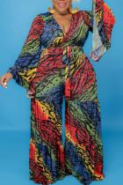 Multicolor Casual Print Split Joint V Neck Plus Size Jumpsuits