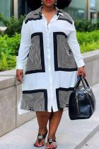 White Fashion Casual Plus Size Print Basic Turndown Collar Shirt Dress