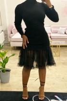 Black Fashion Casual Solid Split Joint Turtleneck Long Sleeve Dresses