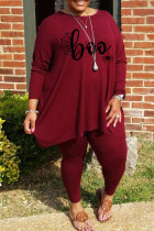 Burgundy Casual Print Split Joint O Neck Plus Size Two Pieces