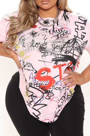 Pink Casual Print Split Joint O Neck T-Shirts
