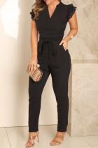 Black Fashion Casual Solid Split Joint V Neck Regular Jumpsuits
