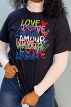 Black Fashion Casual Print Split Joint Letter O Neck T-Shirts