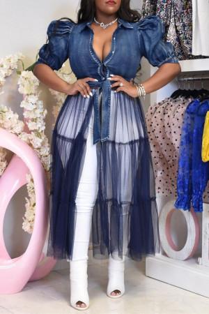 Deep Blue Fashion Casual Plus Size Patchwork Mesh Turndown Collar Short Sleeve Dress