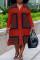 Red Fashion Casual Plus Size Print Basic Turndown Collar Shirt Dress
