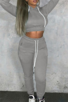 Grey Fashion Casual Solid Bandage Hooded Collar Long Sleeve Two Pieces