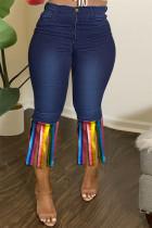 Deep Blue Fashion Casual Patchwork Tassel Plus Size Jeans