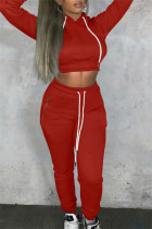 Red Fashion Casual Solid Bandage Hooded Collar Long Sleeve Two Pieces