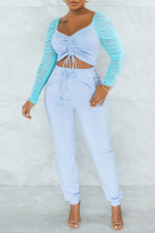 Baby Blue Sexy Solid Split Joint Draw String Fold Square Collar Long Sleeve Two Pieces