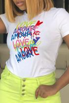 White Fashion Casual Print Split Joint Letter O Neck T-Shirts