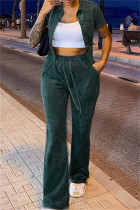 Ink Green Fashion Casual Solid Cardigan Pants Turndown Collar Long Sleeve Two Pieces