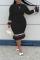 Black Casual Solid Split Joint O Neck Trumpet Mermaid Plus Size Dresses