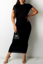 Black Fashion Sexy Solid Backless O Neck Short Sleeve Irregular Dress
