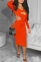 Tangerine Red Sexy Solid Hollowed Out O Neck Pencil Skirt Dresses