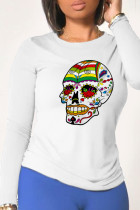 White Casual Daily Print Split Joint O Neck Tops