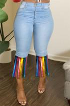 Light Blue Fashion Casual Patchwork Tassel Plus Size Jeans