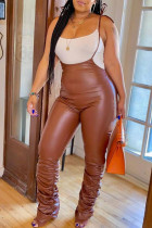 Brown Casual Solid Fold Spaghetti Strap Regular Jumpsuits