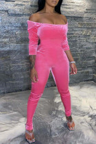 Pink Sexy Casual Solid Backless Off the Shoulder Jumpsuits