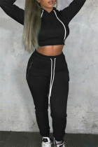 Black Fashion Casual Solid Bandage Hooded Collar Long Sleeve Two Pieces