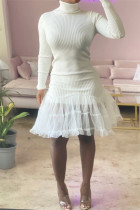 White Fashion Casual Solid Split Joint Turtleneck Long Sleeve Dresses