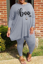 Grey Casual Print Split Joint O Neck Plus Size Two Pieces