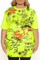 Green Casual Print Split Joint O Neck T-Shirts