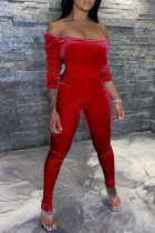 Red Sexy Casual Solid Backless Off the Shoulder Jumpsuits