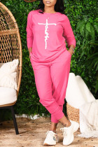 Fuchsia Casual Print Split Joint O Neck Long Sleeve Two Pieces