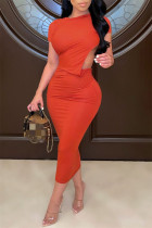 Tangerine Red Fashion Sexy Solid Backless O Neck Short Sleeve Irregular Dress