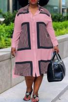Pink Fashion Casual Plus Size Print Basic Turndown Collar Shirt Dress