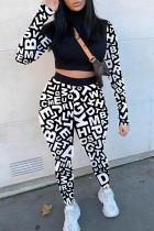 Black Fashion Sexy Print Split Joint O Neck Long Sleeve Two Pieces