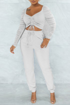 White Sexy Solid Split Joint Draw String Fold Square Collar Long Sleeve Two Pieces