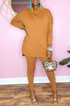 Orange Casual Solid Split Joint Turtleneck Long Sleeve Two Pieces
