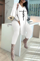 White Fashion Casual Embroidery Slit V Neck Long Sleeve Two Pieces