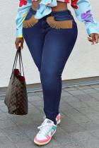 Deep Blue Fashion Street Solid Tassel Plus Size Jeans