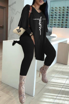 Black Fashion Casual Embroidery Slit V Neck Long Sleeve Two Pieces