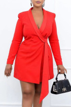 Red Fashion Work Solid Bandage V Neck Pencil Skirt Dresses