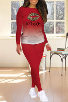 Red Fashion Casual Print Split Joint O Neck Long Sleeve Two Pieces