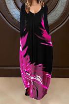 Rose Red Casual Print Split Joint V Neck Long Sleeve Dresses