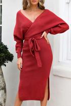Red Casual Elegant Solid Backless Slit Strap Design V Neck Pencil Skirt Dresses