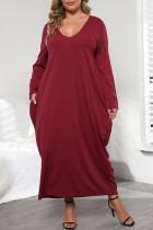 Purplish Red Casual Solid Split Joint Pocket Frenulum V Neck Long Sleeve Plus Size Dresses