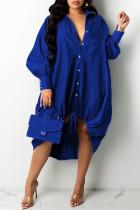 Blue Fashion Casual Patchwork Basic Turndown Collar Long Sleeve Dresses
