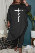 Black Fashion Casual Print Asymmetrical Oblique Collar Plus Size Two Pieces