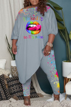 Grey Casual Print Split Joint Off the Shoulder Plus Size Two Pieces