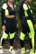 Fluorescent Green Casual Sportswear Patchwork Basic Zipper Collar Long Sleeve Two Pieces