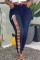Deep Blue Fashion Casual Solid Embroidered Hollowed Out Plus Size Jeans