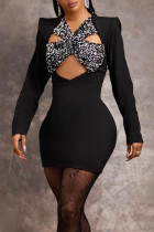 Black Sexy Solid Hollowed Out Split Joint V Neck A Line Dresses