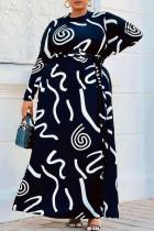 Black Fashion Casual Print Basic O Neck Long Sleeve Plus Size Dresses