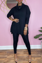 Black Casual Solid Split Joint Turtleneck Long Sleeve Two Pieces