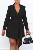 Black Fashion Work Solid Bandage V Neck Pencil Skirt Dresses